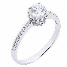 Кольцо из белого золота с фианитами Истинная любовь