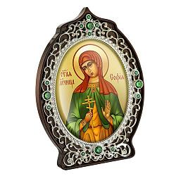 Икона Святая София с латунью, зелеными фианитами и цветной эмалью 000004205