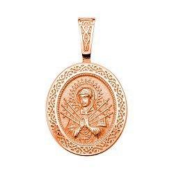 Узорная ладанка из красного золота Семистрельная Божья Матерь 000132204