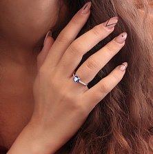 Серебряное кольцо Чувства принцессы с гидротермальным танзанитом и фианитами