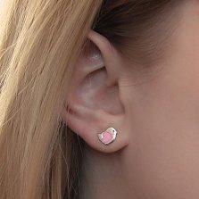 Серебряные серьги-пуссеты Птенчики с розовой эмалью