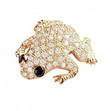 Брошь в желтом золоте Сказочная лягушка с бриллиантами