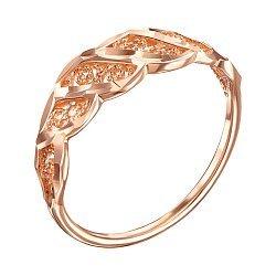 Золотое кольцо с завитками и насечкой 000006505