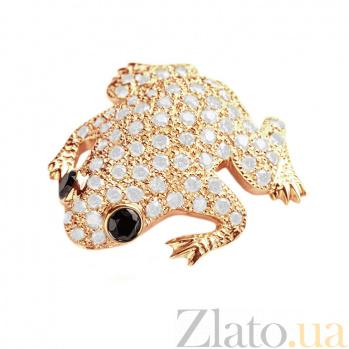 Брошь в желтом золоте Сказочная лягушка с бриллиантами 000079348