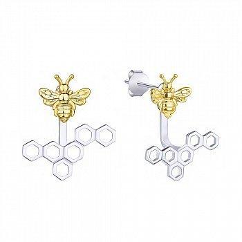 Серебряные серьги-джекеты Пчелы и соты с позолотой 000113706
