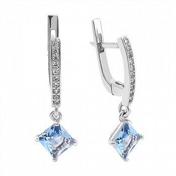 Серебряные серьги-подвески с голубым алпанитом и фианитами 000094591