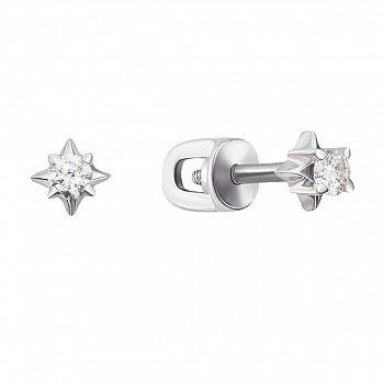 Серьги-пуссеты из белого золота с бриллиантами 000126209