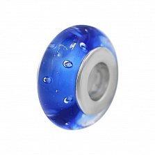 Серебряный шарм Живая вода с синим муранским стеклом