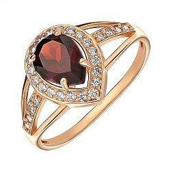 Кольцо из красного золота с гранатом и фианитами 000146012