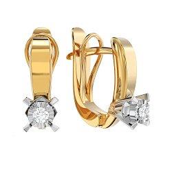 Золотые серьги с бриллиантами Одри