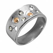 Кольцо из серебра с золотом и фианитами Голландия