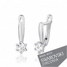 Серебряные серьги Анисья с цирконием SWAROVSKI ZIRCONIA