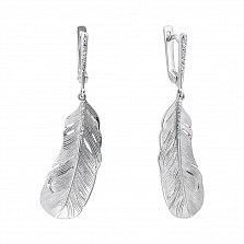 Серебряные серьги-подвески Перышки с фианитами