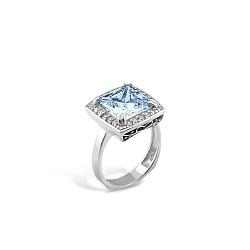 Серебряное родированное кольцо с с узорами, голубым альпинитом, черной эмалью и фианитами 000100098