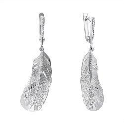 Серебряные серьги-подвески с фианитами 000112374