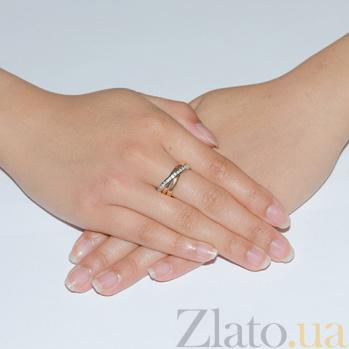 Золотое обручальное кольцо с фианитами Тринити TRF--472807