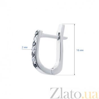 Серебряные серьги дорожки с куб.цирконом Лейла AQA--72184ч/б