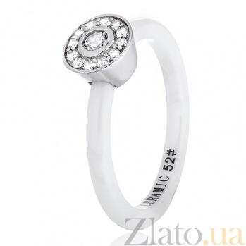 Керамическое кольцо Гвендолин с серебром и фианитами 000030966