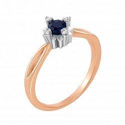 Кольцо из красного золота с сапфиром, бриллиантами и родированием 000132853