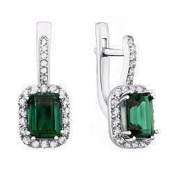 Серебряные серьги с зеленым кварцем и фианитами 000122239
