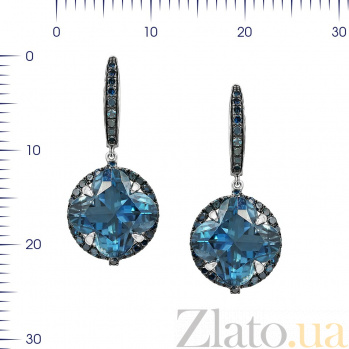 Серьги-подвески из белого золота Беатриса с голубыми бриллиантами и топазами 000081089