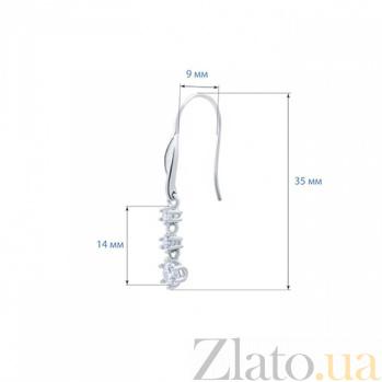 Серебряные серьги подвески с фианитами Мартина AQA--XJT-0089-E