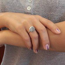 Золотое кольцо-печать Глянец в белом цвете