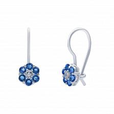 Серебряные серьги с синим цирконом  Цветик