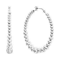 Серебряные серьги-кольца с шариками, 40мм 000136122