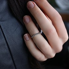 Серебряное кольцо на фалангу Гусеница