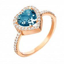 Кольцо из красного золота Сердце океана с кварцем под лондон топаз и фианитами
