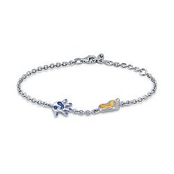 Серебряный браслет Мой малыш с синим и желтым полимером