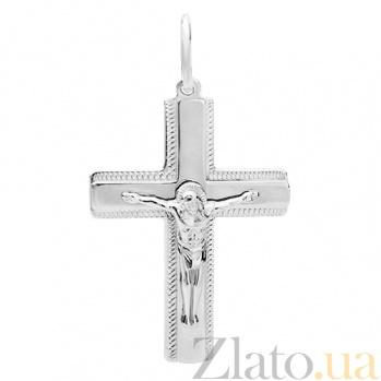 Крестик из белого золота с алмазной насечкой Крестильный HUF--11501-бел