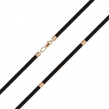 Коричневый ювелирный шнурок из текстиля и красного золота 000145482