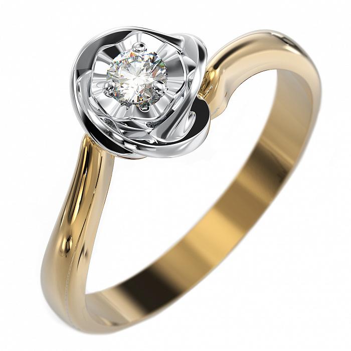 Золотое кольцо Дивный цветок в комбинированном цвете с бриллиантом VLA--15060