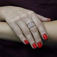 Серебряное кольцо Молния с фианитами