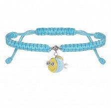 Детский плетеный браслет Рыба с глазами в голубом цвете с эмалью и фианитом, 10х20см