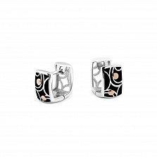 Серебряные серьги-колечки Агнесса с золотыми накладками и черной эмалью