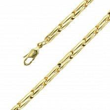 Золотая цепь Синтекс с фантазийными звеньями в желтом цвете 750 пробы, 3мм