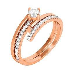 Позолоченное серебряное кольцо с фианитами 000042839