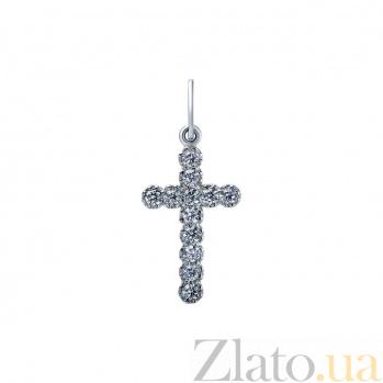 Серебряный крест с цирконами Сияние души AQA--ПХд-114