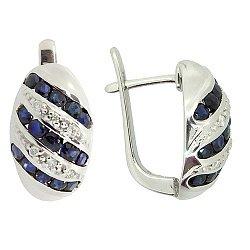 Серебряные серьги с бриллиантами и сапфирами 000022307