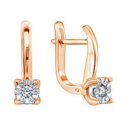 Золотые серьги в комбинированном цвете с бриллиантами 000117285