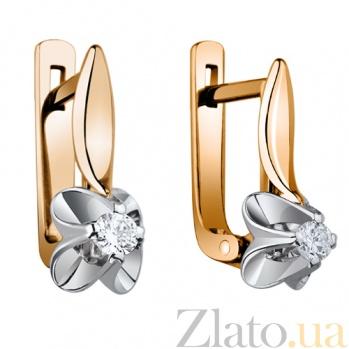 Золотые серьги с бриллиантом Леди AUR--32200 60