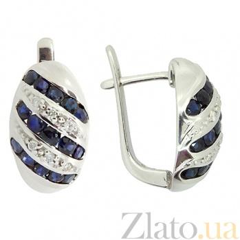 Серебряные серьги с бриллиантами и сапфирами Беатрис ZMX--EDS-16530-Ag_K