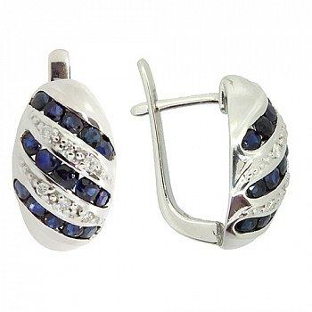Срібні сережки з діамантами і сапфірами 000022307
