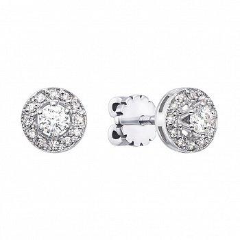 Золотые серьги-пуссеты в белом цвете с бриллиантами 000126780