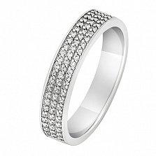 Кольцо из белого золота с бриллиантами Северное сияние