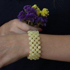 Широкий браслет Гвиневра из натурального янтаря, Ø7
