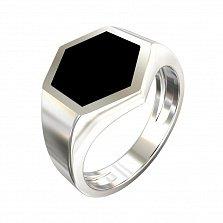 Перстень-печатка из серебра Октис с имитацией оникса